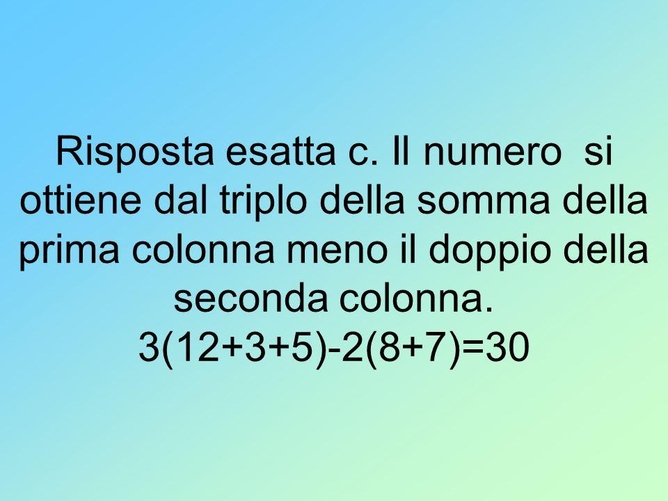 Risposta esatta c. Il numero si ottiene dal triplo della somma della prima colonna meno il doppio della seconda colonna. 3(12+3+5)-2(8+7)=30