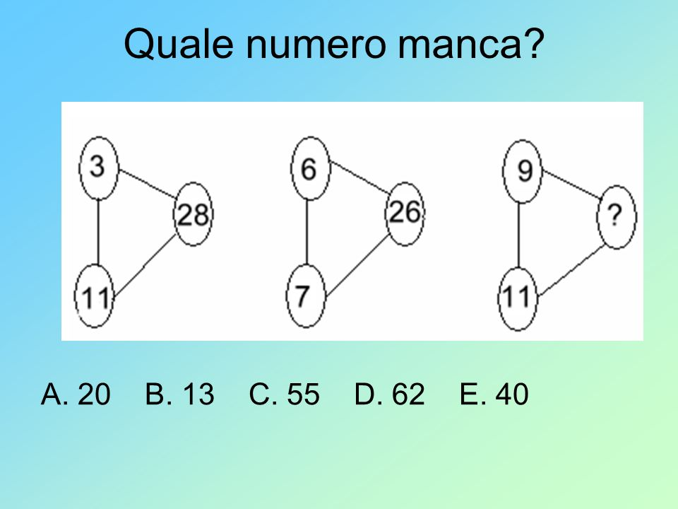 Quale numero manca? A. 20 B. 13 C. 55 D. 62 E. 40