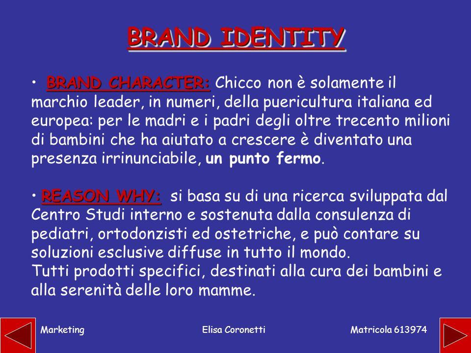 Matricola 613974 MarketingElisa Coronetti BRAND IDENTITY BRAND CHARACTER: BRAND CHARACTER: Chicco non è solamente il marchio leader, in numeri, della