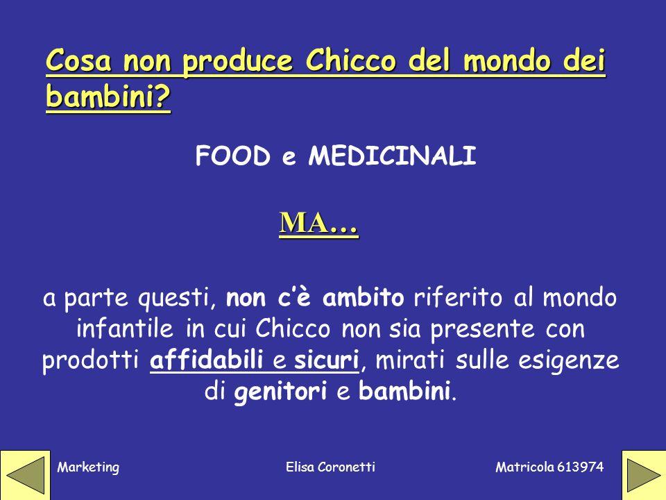 Matricola 613974 MarketingElisa Coronetti Cosa non produce Chicco del mondo dei bambini? FOOD e MEDICINALI MA… a parte questi, non cè ambito riferito