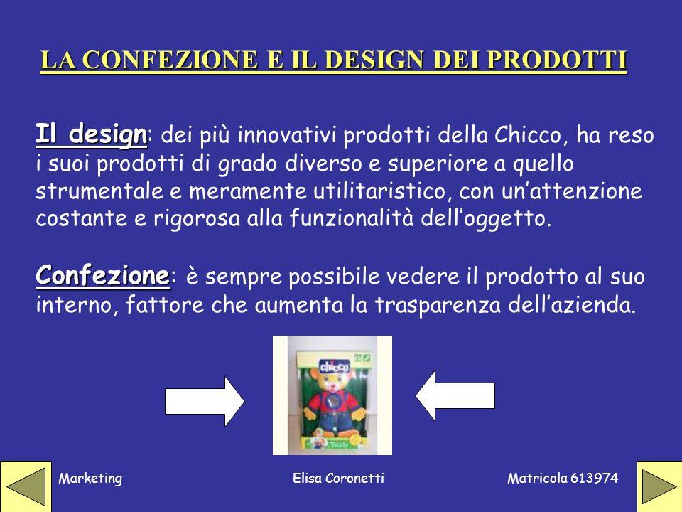 Matricola 613974 MarketingElisa Coronetti Il design Il design : dei più innovativi prodotti della Chicco, ha reso i suoi prodotti di grado diverso e s