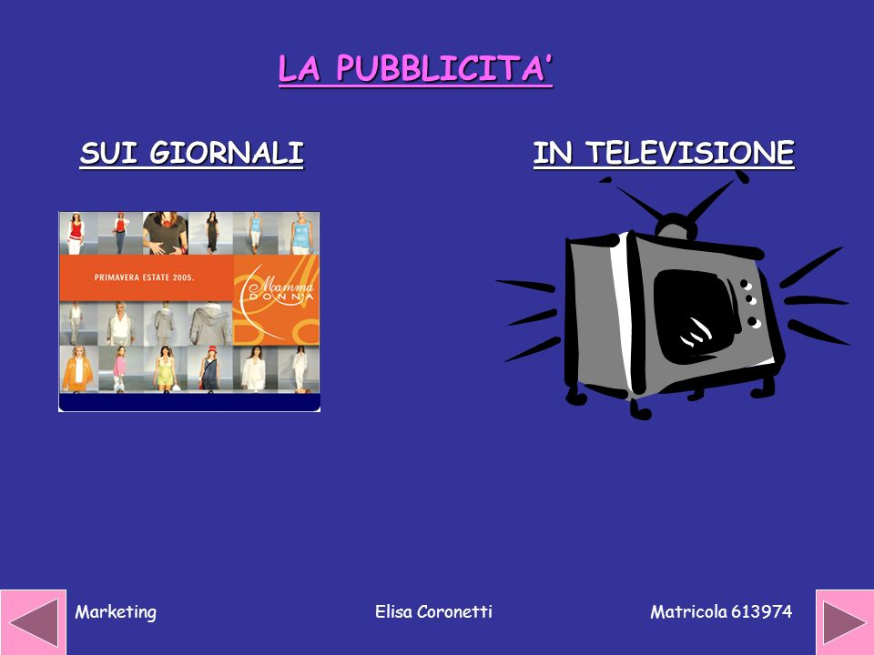 Matricola 613974 MarketingElisa Coronetti LA PUBBLICITA IN TELEVISIONE SUI GIORNALI