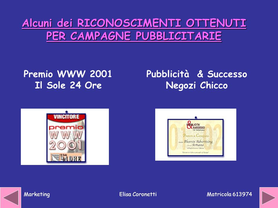 Matricola 613974 MarketingElisa Coronetti Alcuni dei RICONOSCIMENTI OTTENUTI PER CAMPAGNE PUBBLICITARIE Premio WWW 2001 Il Sole 24 Ore Pubblicità & Su
