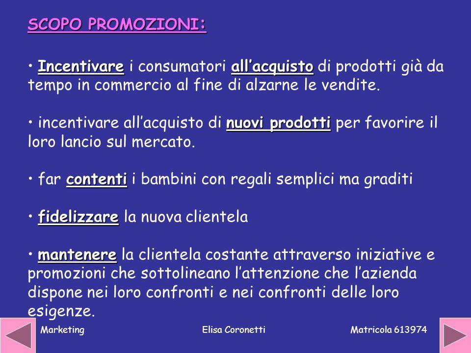 Matricola 613974 MarketingElisa Coronetti SCOPO PROMOZIONI : Incentivareallacquisto Incentivare i consumatori allacquisto di prodotti già da tempo in