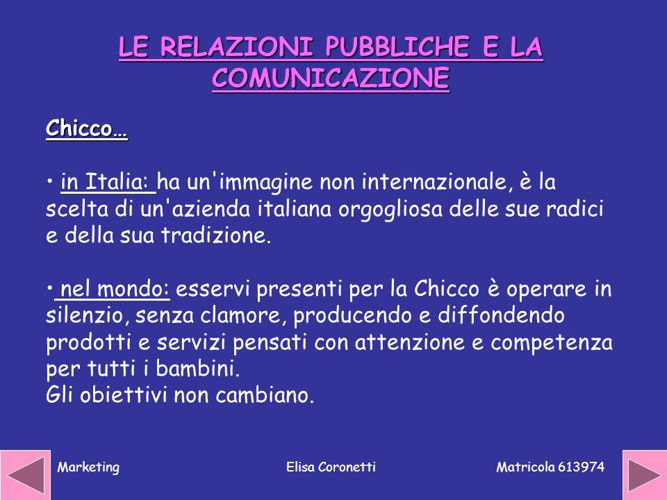 Matricola 613974 MarketingElisa Coronetti Chicco… in Italia: ha un'immagine non internazionale, è la scelta di un'azienda italiana orgogliosa delle su