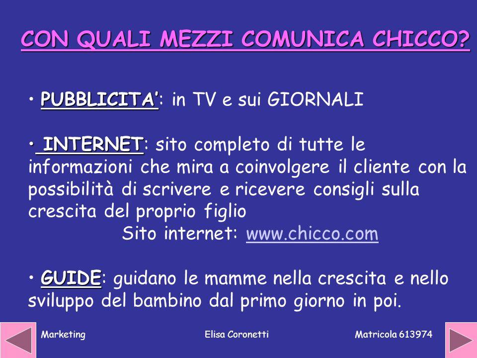 Matricola 613974 MarketingElisa Coronetti CON QUALI MEZZI COMUNICA CHICCO? PUBBLICITA PUBBLICITA: in TV e sui GIORNALI INTERNET INTERNET: sito complet