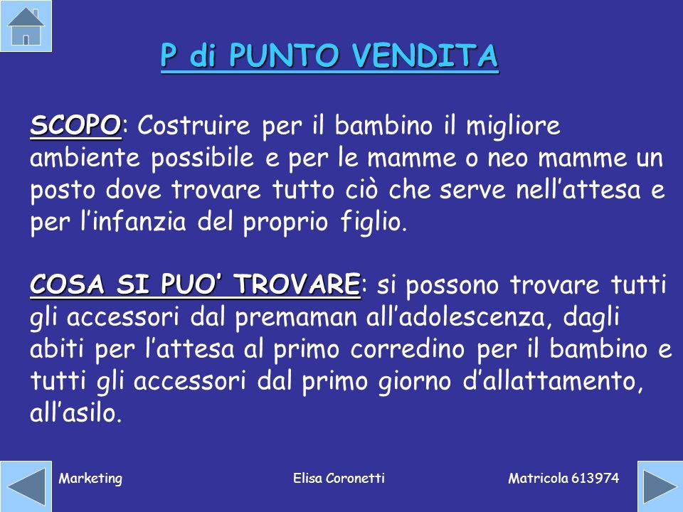 Matricola 613974 MarketingElisa Coronetti P di PUNTO VENDITA SCOPO SCOPO: Costruire per il bambino il migliore ambiente possibile e per le mamme o neo