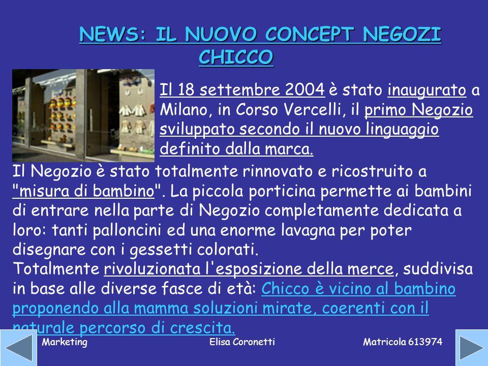 Matricola 613974 MarketingElisa Coronetti NEWS: IL NUOVO CONCEPT NEGOZI CHICCO Il 18 settembre 2004 è stato inaugurato a Milano, in Corso Vercelli, il