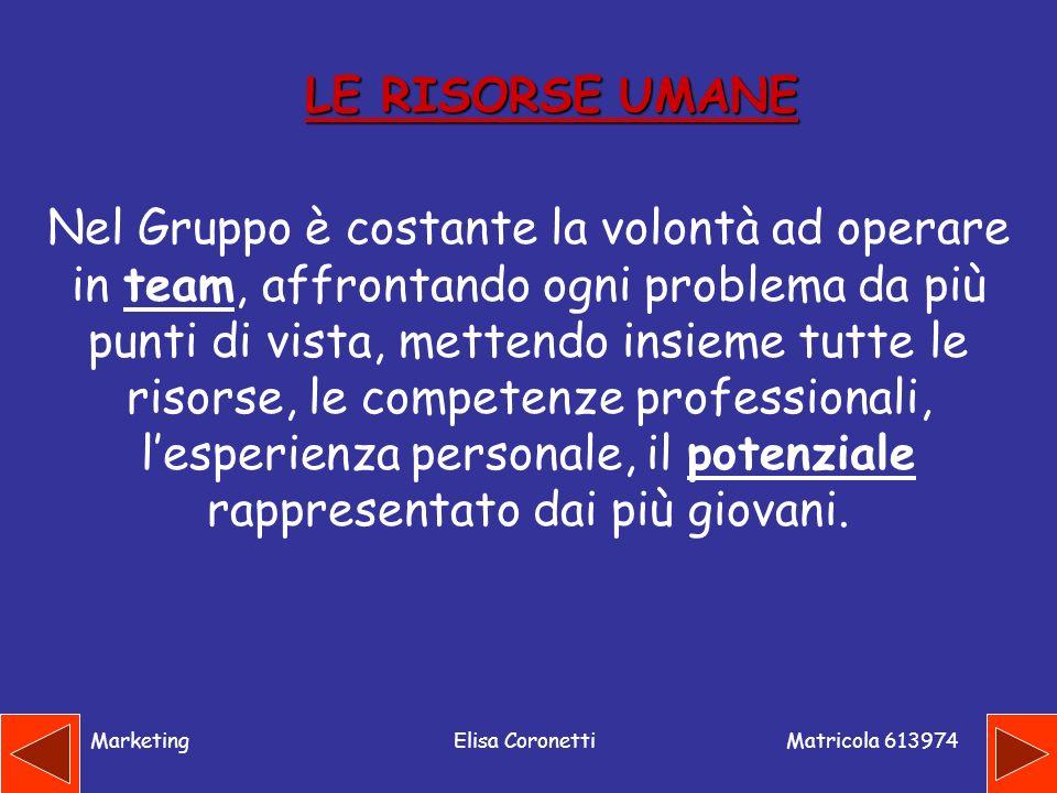 Matricola 613974 MarketingElisa Coronetti LE RISORSE UMANE Nel Gruppo è costante la volontà ad operare in team, affrontando ogni problema da più punti