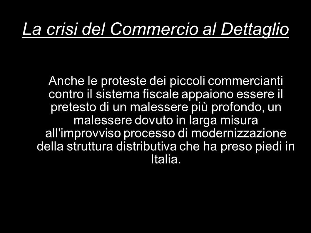La crisi del Commercio al Dettaglio Anche le proteste dei piccoli commercianti contro il sistema fiscale appaiono essere il pretesto di un malessere p