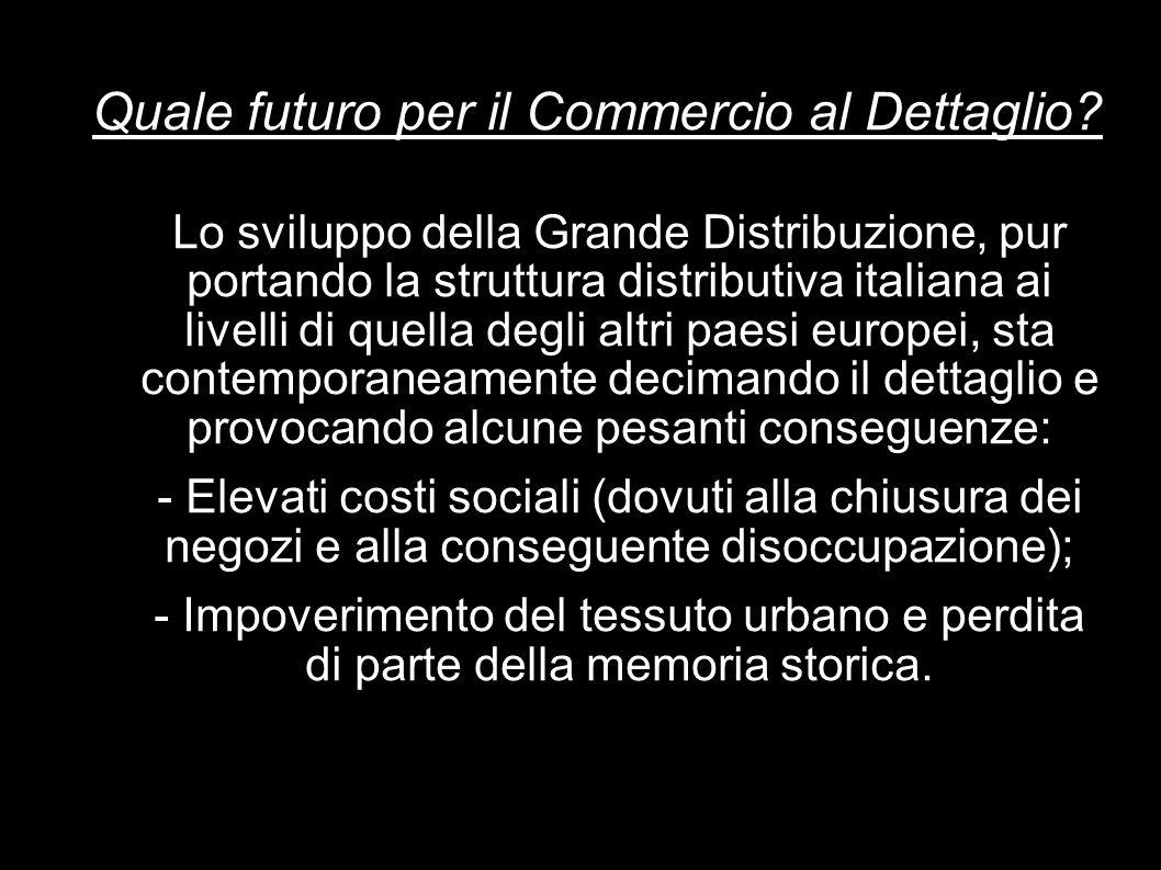 Quale futuro per il Commercio al Dettaglio? Lo sviluppo della Grande Distribuzione, pur portando la struttura distributiva italiana ai livelli di quel