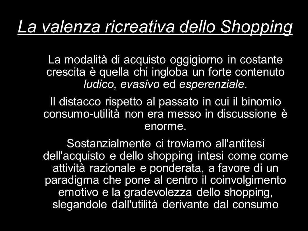 La valenza ricreativa dello Shopping La modalità di acquisto oggigiorno in costante crescita è quella chi ingloba un forte contenuto ludico, evasivo e