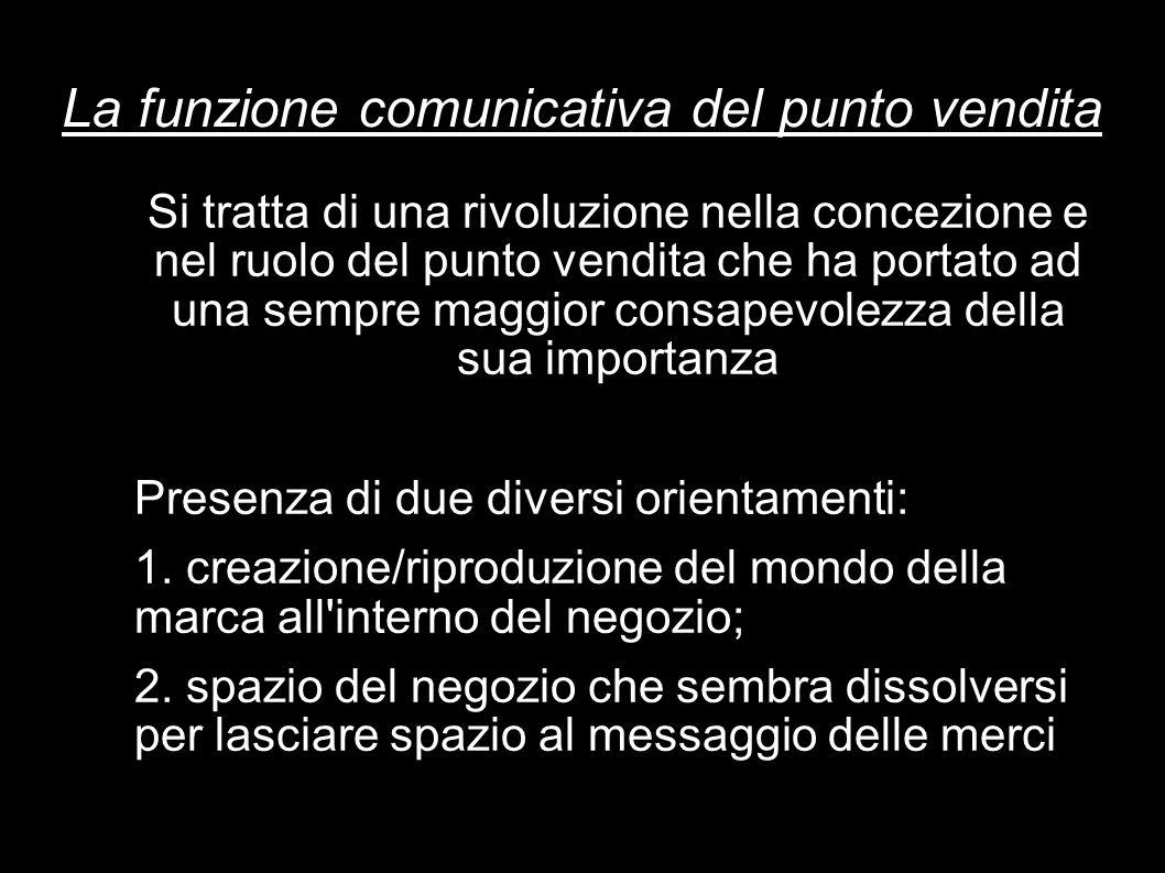 La funzione comunicativa del punto vendita Si tratta di una rivoluzione nella concezione e nel ruolo del punto vendita che ha portato ad una sempre ma