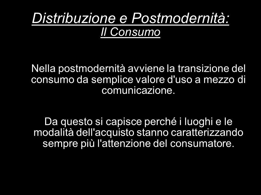 Distribuzione e Postmodernità: Il Consumo Nella postmodernità avviene la transizione del consumo da semplice valore d'uso a mezzo di comunicazione. Da