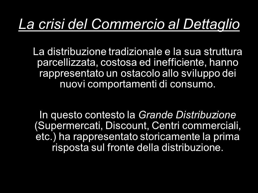 La crisi del Commercio al Dettaglio La distribuzione tradizionale e la sua struttura parcellizzata, costosa ed inefficiente, hanno rappresentato un os