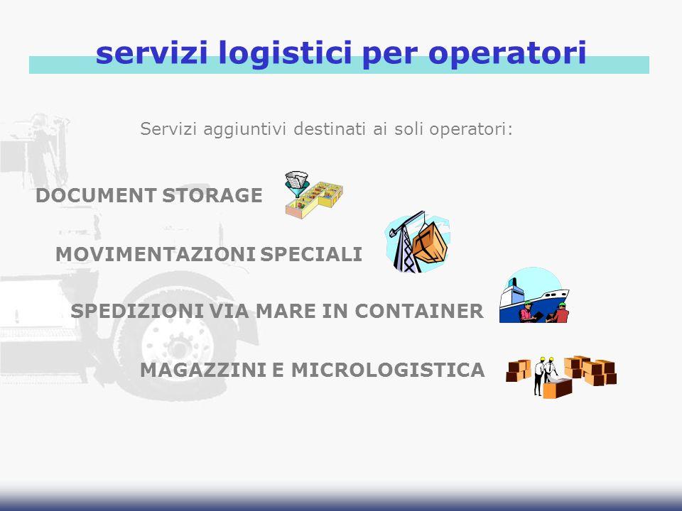 servizi logistici per operatori DOCUMENT STORAGE MOVIMENTAZIONI SPECIALI SPEDIZIONI VIA MARE IN CONTAINER MAGAZZINI E MICROLOGISTICA Servizi aggiuntiv