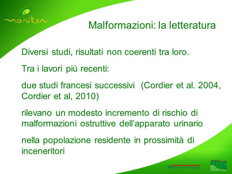 Malformazioni: la letteratura Diversi studi, risultati non coerenti tra loro.