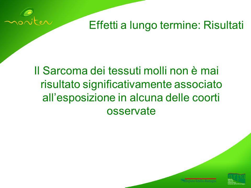 Il Sarcoma dei tessuti molli non è mai risultato significativamente associato allesposizione in alcuna delle coorti osservate Effetti a lungo termine: Risultati