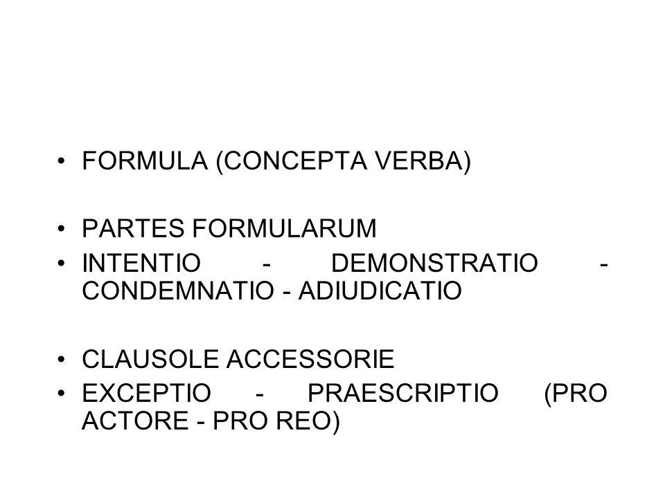FORMULA (CONCEPTA VERBA) PARTES FORMULARUM INTENTIO - DEMONSTRATIO - CONDEMNATIO - ADIUDICATIO CLAUSOLE ACCESSORIE EXCEPTIO - PRAESCRIPTIO (PRO ACTORE - PRO REO)