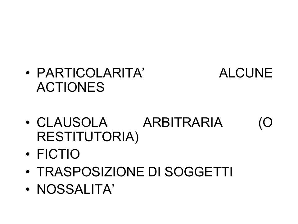 PARTICOLARITA ALCUNE ACTIONES CLAUSOLA ARBITRARIA (O RESTITUTORIA) FICTIO TRASPOSIZIONE DI SOGGETTI NOSSALITA