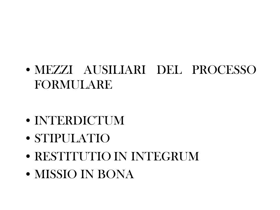 MEZZI AUSILIARI DEL PROCESSO FORMULARE INTERDICTUM STIPULATIO RESTITUTIO IN INTEGRUM MISSIO IN BONA