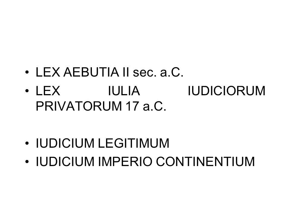 LEX AEBUTIA II sec. a.C. LEX IULIA IUDICIORUM PRIVATORUM 17 a.C. IUDICIUM LEGITIMUM IUDICIUM IMPERIO CONTINENTIUM