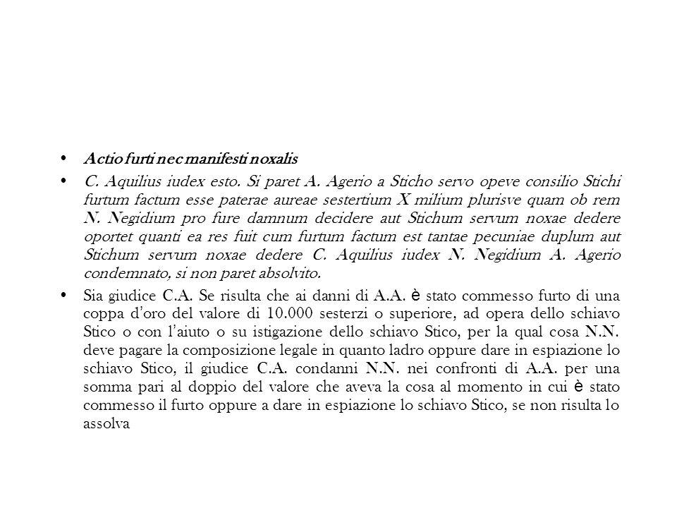 Actio furti nec manifesti noxalis C.Aquilius iudex esto.