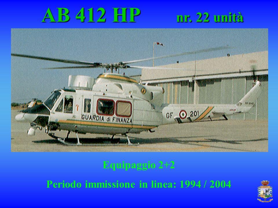 AB 412 HP nr. 22 unità AB 412 HP nr. 22 unità Equipaggio 2+2 Periodo immissione in linea: 1994 / 2004