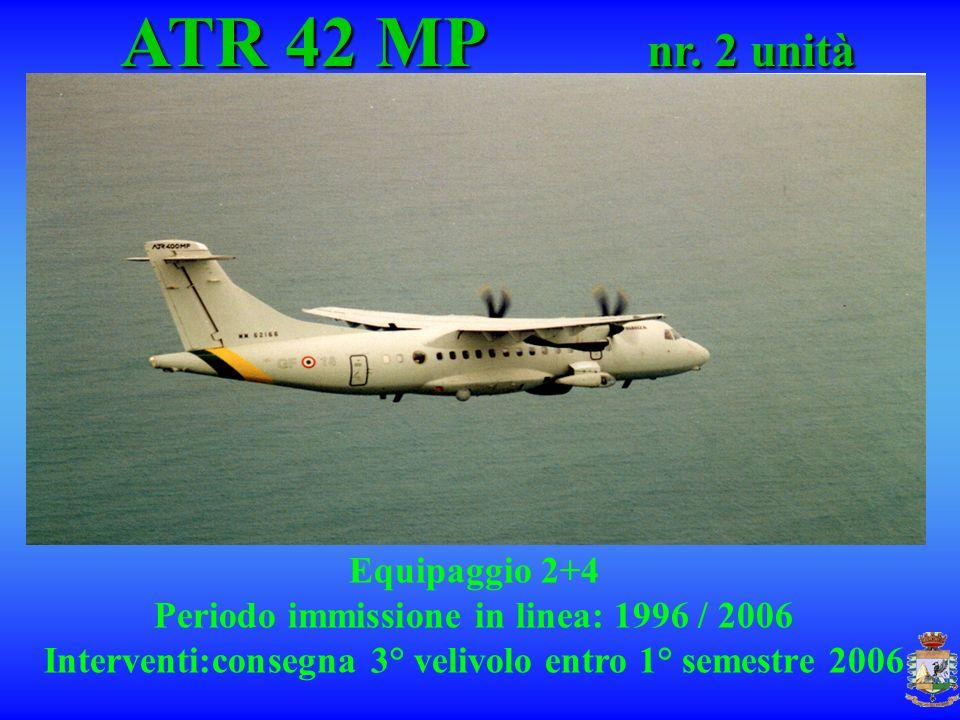 ATR 42 MP nr. 2 unità ATR 42 MP nr. 2 unità Equipaggio 2+4 Periodo immissione in linea: 1996 / 2006 Interventi:consegna 3° velivolo entro 1° semestre