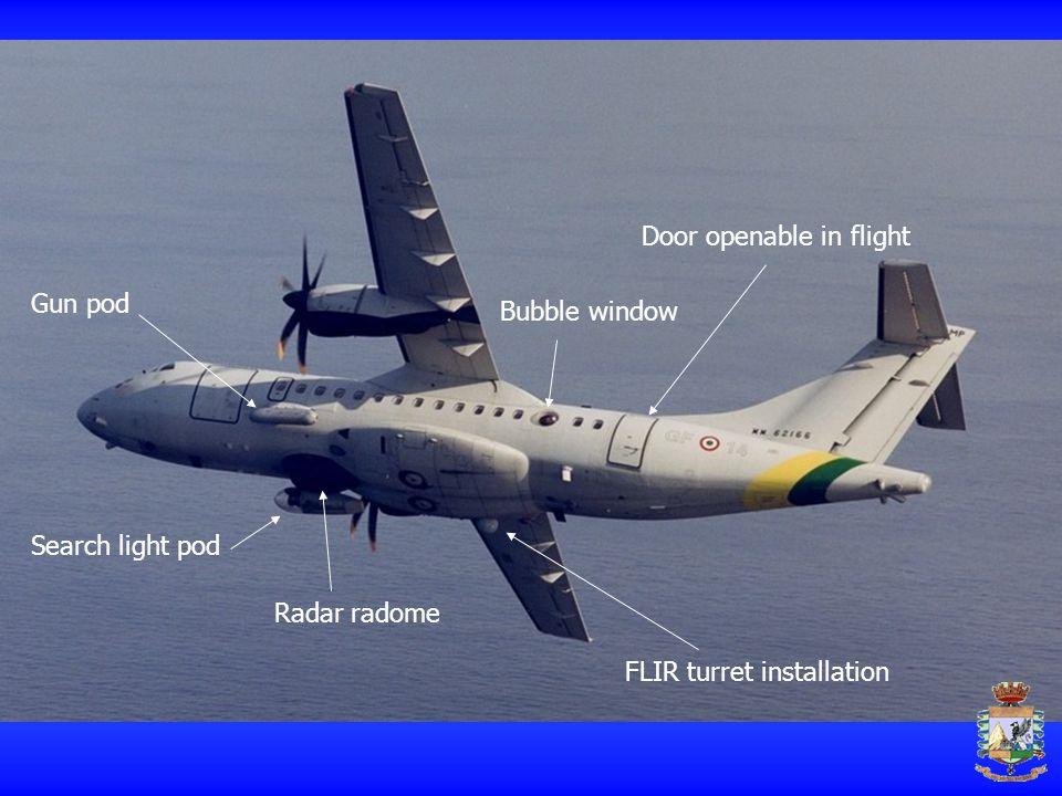 Search light pod Gun pod Radar radome Bubble window Door openable in flight FLIR turret installation