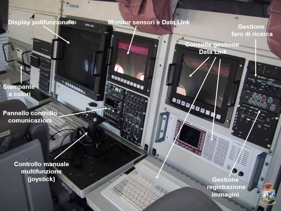 Display polifunzionaleMonitor sensori e Data Link Controllo manuale multifunzione (joystick) Pannello controllo comunicazioni Consolle gestione Data L