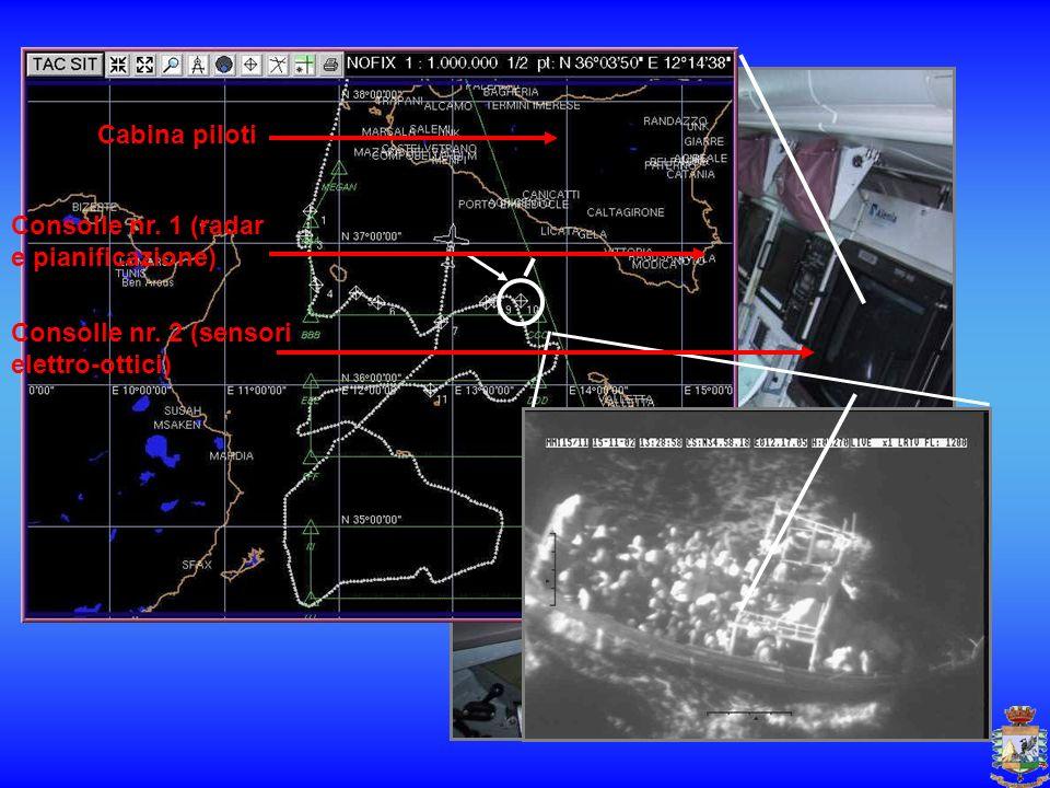 Cabina piloti Consolle nr. 1 (radar e pianificazione) Consolle nr. 2 (sensori elettro-ottici)
