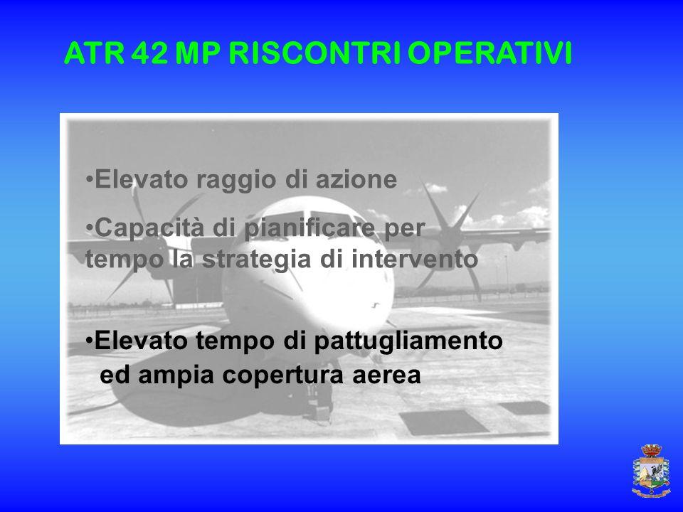 Elevato raggio di azione Capacità di pianificare per tempo la strategia di intervento Elevato tempo di pattugliamento ed ampia copertura aerea ATR 42