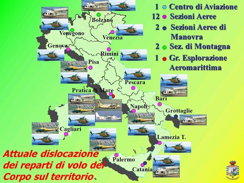 12 Sezioni Aeree Genova Venegono Pratica di Mare Napoli Palermo Cagliari Grottaglie Bari Pescara Venezia Pisa Lamezia T. Catania Rimini Bolzano Attual