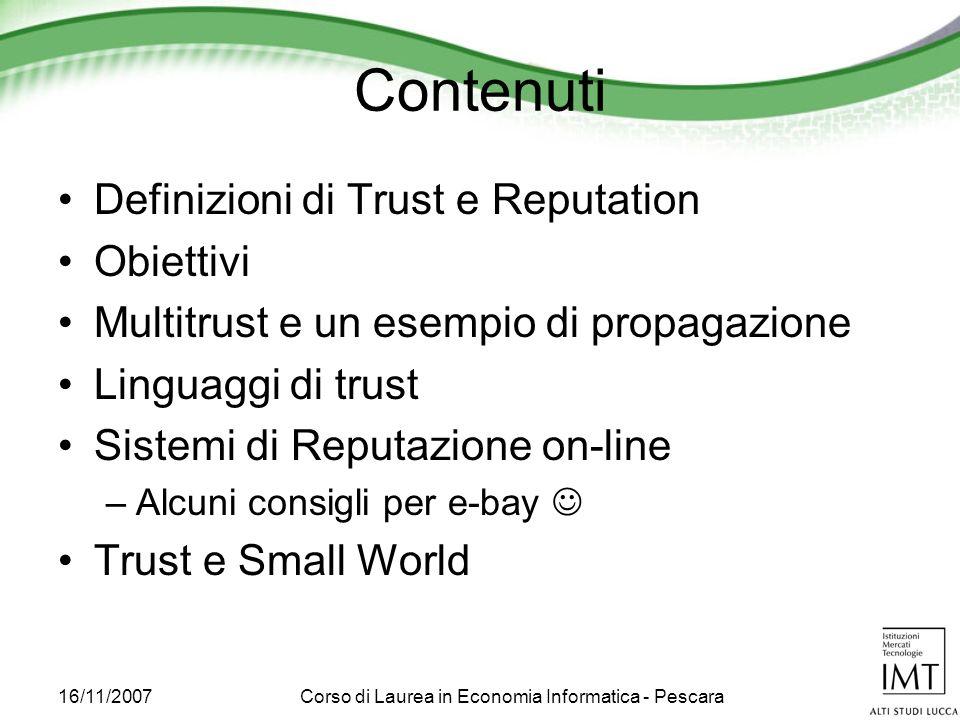 16/11/2007Corso di Laurea in Economia Informatica - Pescara Relazioni transitive
