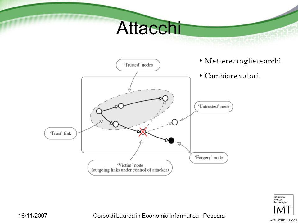 16/11/2007Corso di Laurea in Economia Informatica - Pescara Attacchi Mettere/togliere archi Cambiare valori