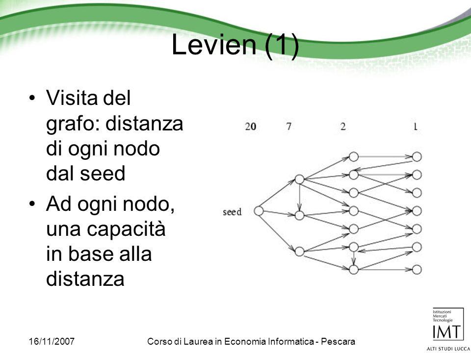 16/11/2007Corso di Laurea in Economia Informatica - Pescara Levien (1) Visita del grafo: distanza di ogni nodo dal seed Ad ogni nodo, una capacità in base alla distanza