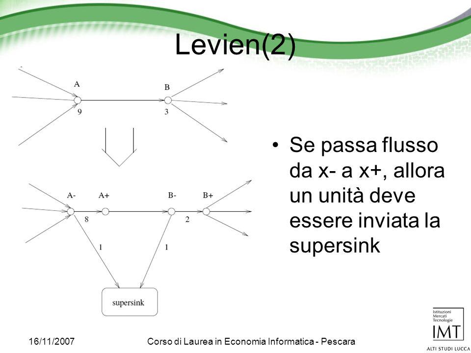 16/11/2007Corso di Laurea in Economia Informatica - Pescara Levien(2) Se passa flusso da x- a x+, allora un unità deve essere inviata la supersink