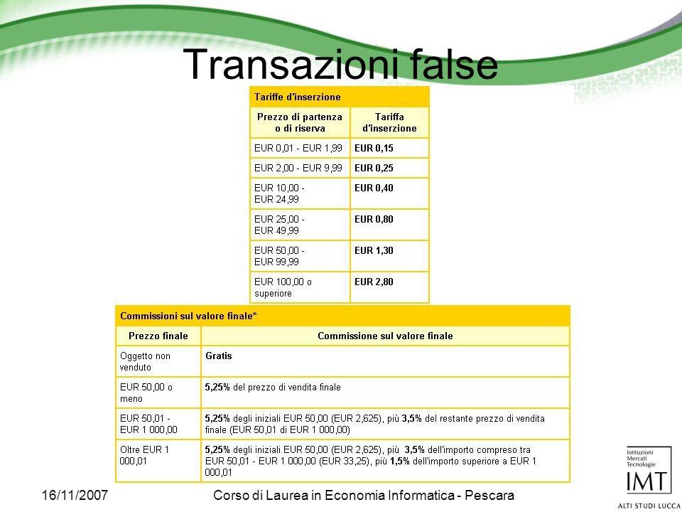 16/11/2007Corso di Laurea in Economia Informatica - Pescara Transazioni false