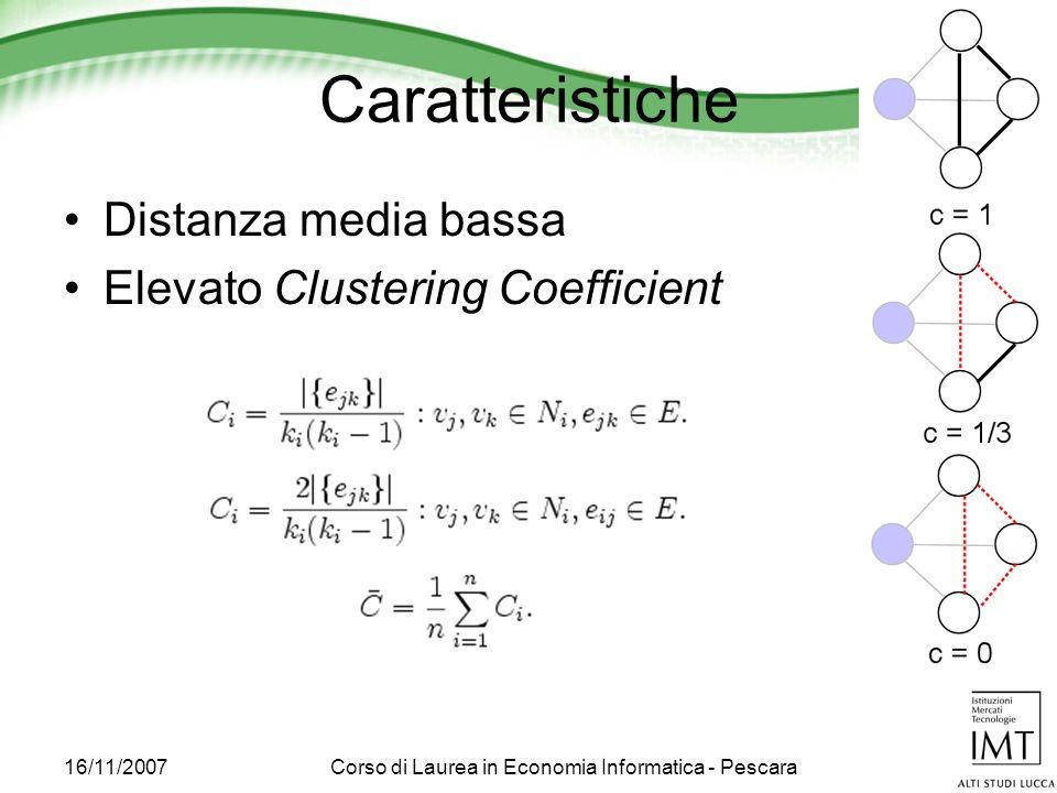 16/11/2007Corso di Laurea in Economia Informatica - Pescara Caratteristiche Distanza media bassa Elevato Clustering Coefficient