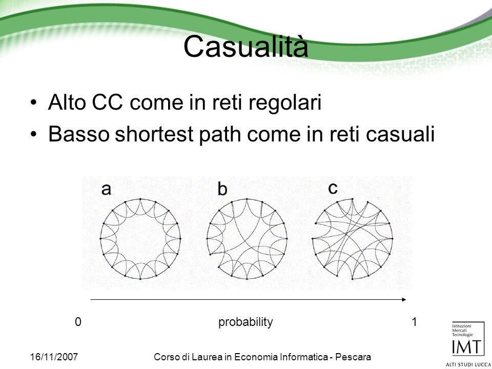 16/11/2007Corso di Laurea in Economia Informatica - Pescara Casualità Alto CC come in reti regolari Basso shortest path come in reti casuali probability01
