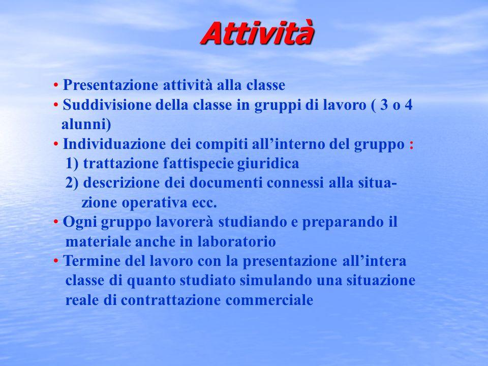 Attività Presentazione attività alla classe Suddivisione della classe in gruppi di lavoro ( 3 o 4 alunni) Individuazione dei compiti allinterno del gr