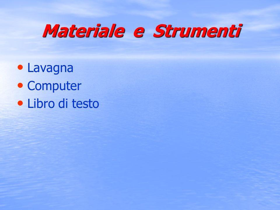 Materiale e Strumenti Lavagna Computer Libro di testo