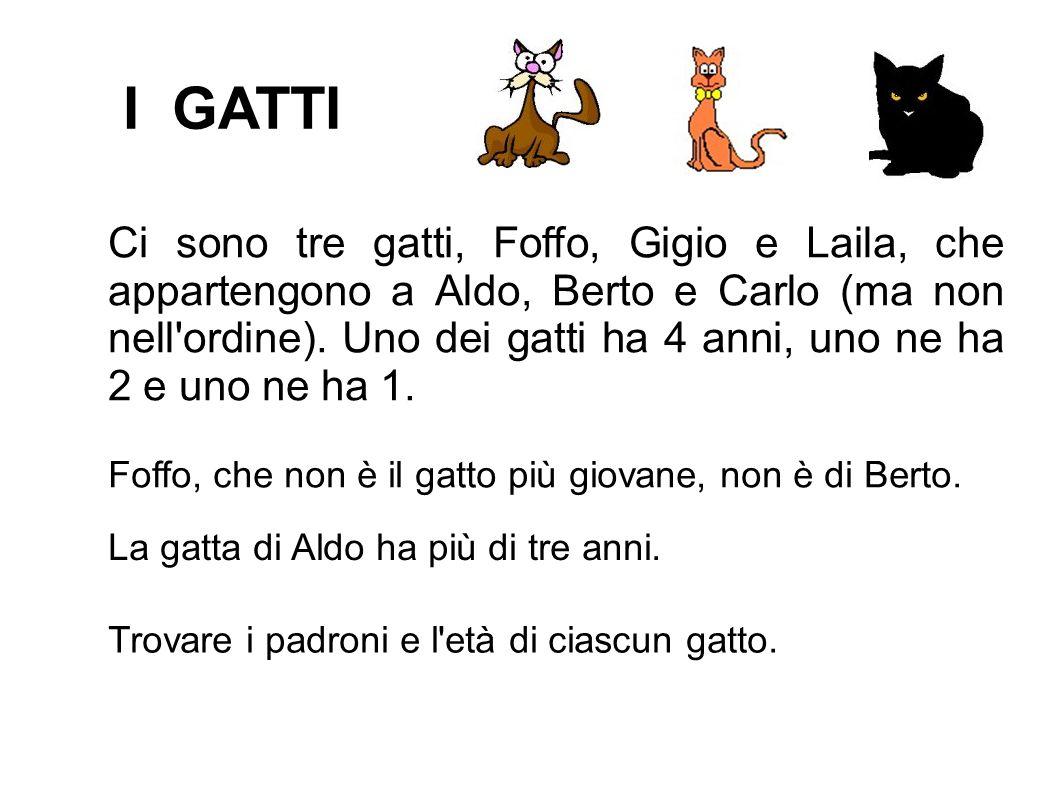 I GATTI Ci sono tre gatti, Foffo, Gigio e Laila, che appartengono a Aldo, Berto e Carlo (ma non nell'ordine). Uno dei gatti ha 4 anni, uno ne ha 2 e u