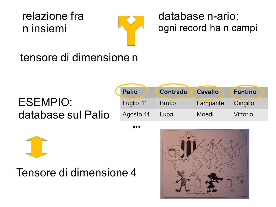 relazione fra n insiemi database n-ario: ogni record ha n campi tensore di dimensione n ESEMPIO: database sul Palio PalioContradaCavalloFantino Luglio