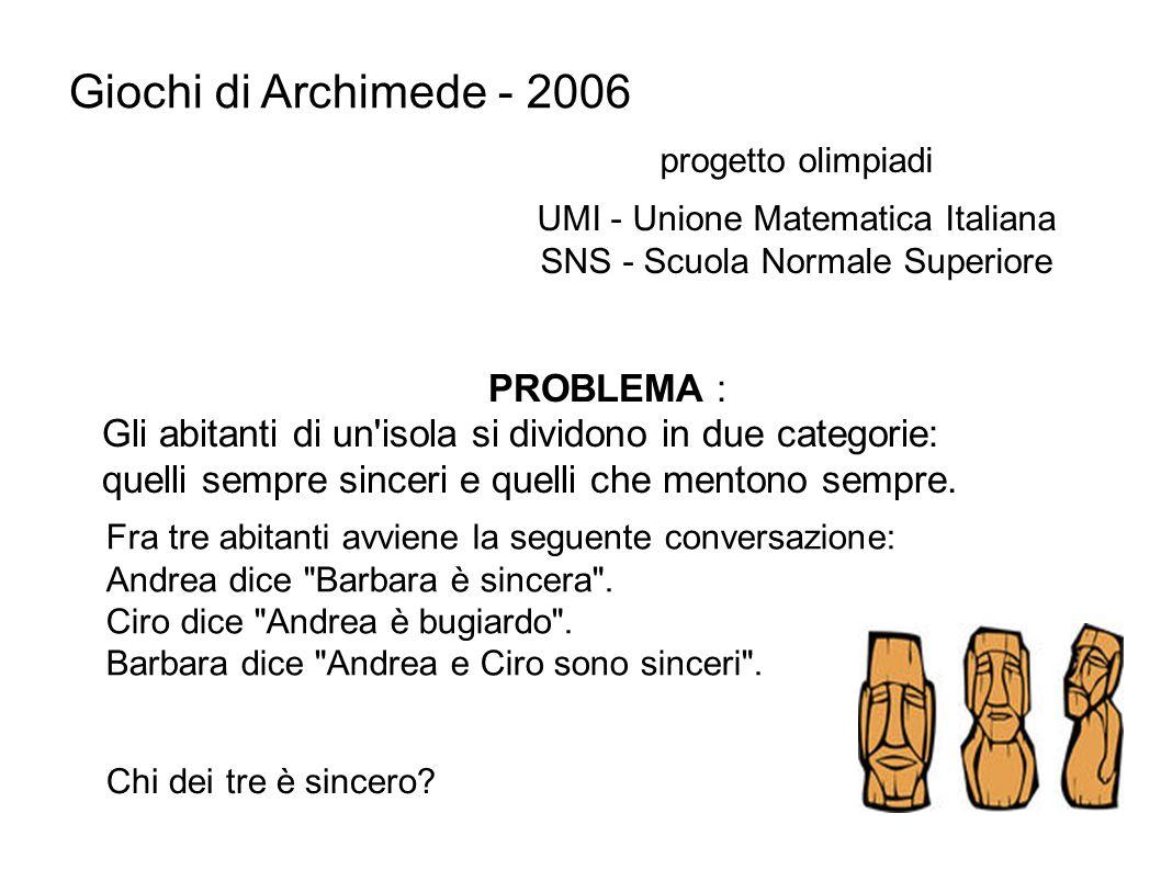 Giochi di Archimede - 2006 PROBLEMA : Gli abitanti di un'isola si dividono in due categorie: quelli sempre sinceri e quelli che mentono sempre. proget
