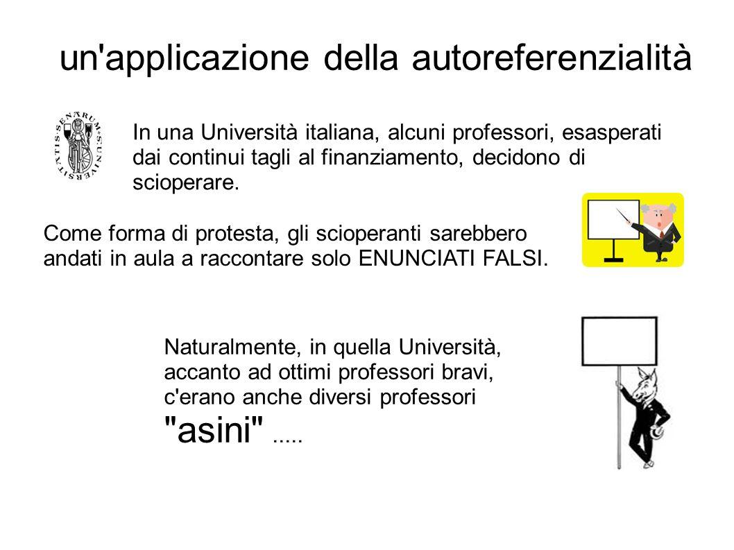 un'applicazione della autoreferenzialità In una Università italiana, alcuni professori, esasperati dai continui tagli al finanziamento, decidono di sc