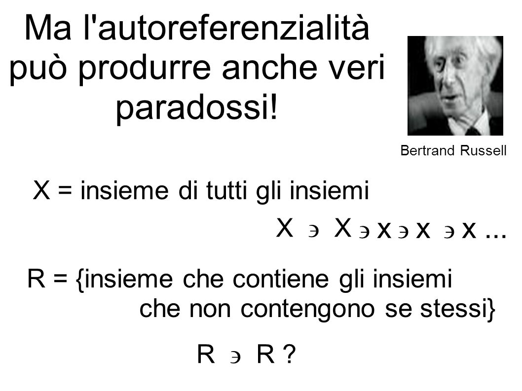 Ma l'autoreferenzialità può produrre anche veri paradossi! Bertrand Russell X = insieme di tutti gli insiemi X x x x... R = {insieme che contiene gli