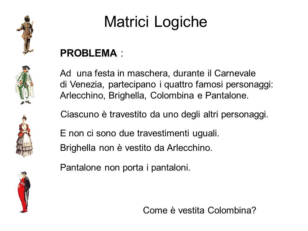 Matrici Logiche PROBLEMA : Ad una festa in maschera, durante il Carnevale di Venezia, partecipano i quattro famosi personaggi: Arlecchino, Brighella,