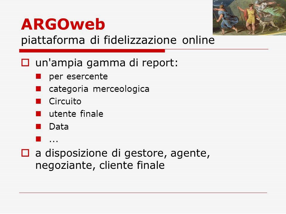 ARGOweb piattaforma di fidelizzazione online un ampia gamma di report: per esercente categoria merceologica Circuito utente finale Data...
